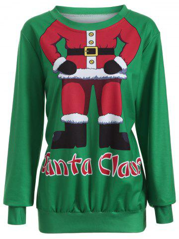 Fashion Santa Clause Pullover Sweatshirt GREEN XL