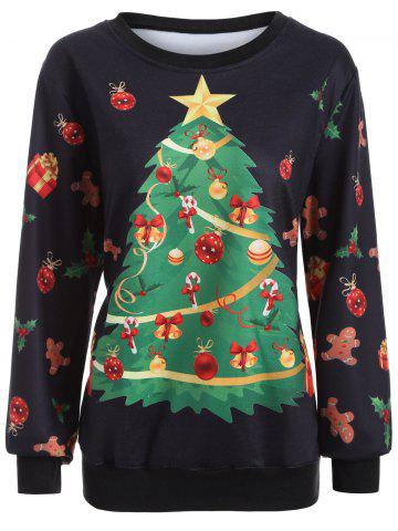 Best Christmas Tree Print Crew Neck Sweatshirt