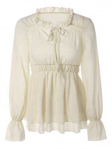 Outfit Puff Sleeves Tied-Up Ruffled Blouse