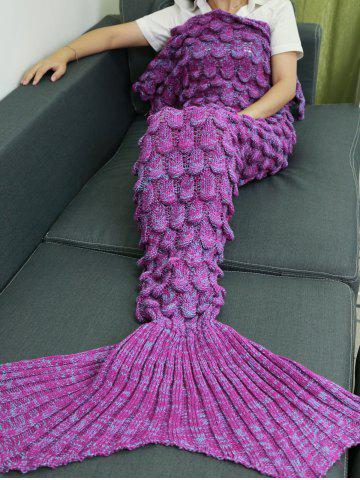 Outfit Knitting Fish Scales Design Mermaid Tail Style Blanket LIGHT PURPLE