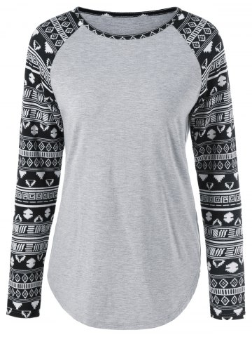 Tribal Print Sleeve T-Shirt - LIGHT GRAY M