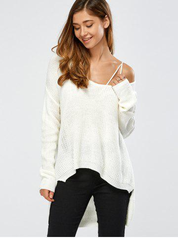 Affordable Skew Collar Drop Shoulder High Low Sweater WHITE ONE SIZE