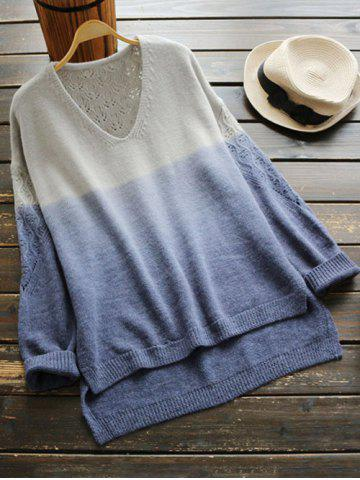Online V Neck Ombre High Low Sweater