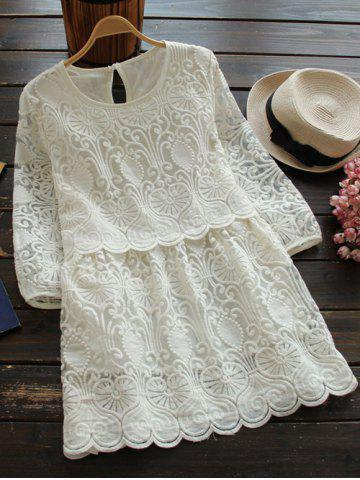 Fancy Round Neck 3/4 Sleeve Embroidered Mini Dress WHITE L