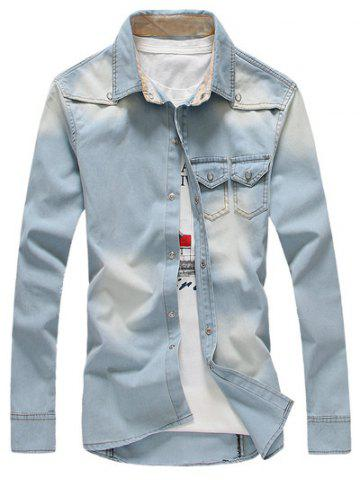 Breast Pocket Snap Button Up Denim Shirt - Light Blue - L