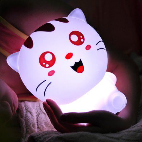 USB Cartoon Rechargeable Lovely Cat Colorful Télécommande Night Light Blanc