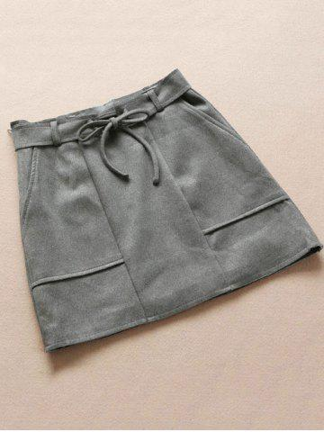 Chic Belted Faux Suded Skirt With Pockets