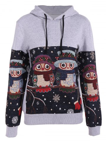 Best Night Owl Jacquard Christmas Hoodie GRAY S