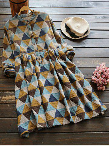 Affordable Stand Neck Long Sleeve Argyle Dress