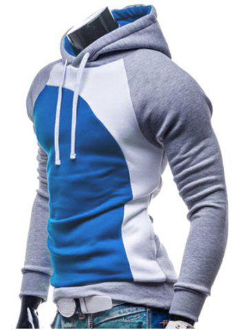 Chic IZZUMI Paneled Raglan Sleeve Drawstring Hoodie - GREY AND WHITE AND BLUE L Mobile