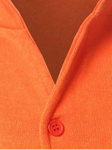 Hot Stand Collar Pocket Front Button Up Plain Cardigan - CADETBLUE M Mobile
