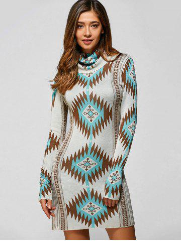 New Turtle Neck Tribal Sweater Dress LIGHT GREEN M