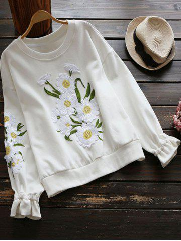 Affordable Crew Neck Floral Applique Sweatshirt