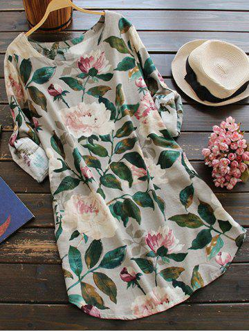 Latest Round Neck Long Sleeve Floral Linen Blouse Dress
