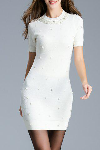 Short Sleeve Faux Pearl Knitted Dress - White - M
