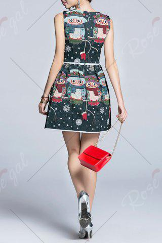 Trendy Snowflake Owl Pattern Flare Dress - L MULTICOLOR Mobile