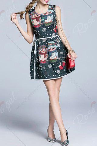 Sale Snowflake Owl Pattern Flare Dress - L MULTICOLOR Mobile