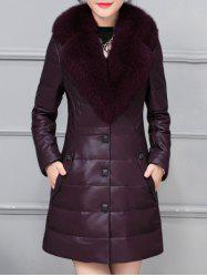 Fur Collar Faux Leather Padded Coat -