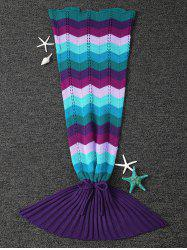 Colorful Wave Stripe Pattern Knitted Mermaid Tail Blanket