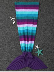 Warmth Knitted Stripe Pattern Mermaid Tail Blanket