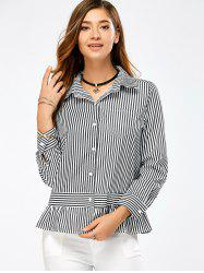 Ruffle Long Sleeve Peplum Striped Shirt