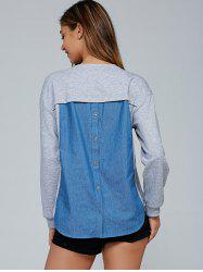Buttoned Back Denim Patchwork Blouse -