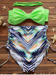 High Waist Lace-Up Printed Bikini Set