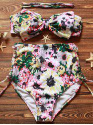 High Waisted Lace-Up Floral Bandeau Bikini Set
