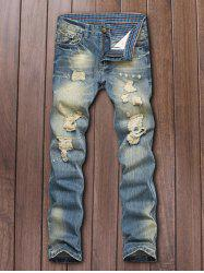 Five-Pocket Zipper Fly Straight Leg Ripped Jeans