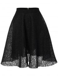 Lace High Waisted Flare Skirt -