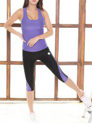 Skinny Tank Top and Stretchy Color Block Pants - PURPLE
