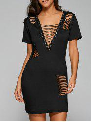 Low Cut Criss-Cross Cut Out Club Dress - BLACK