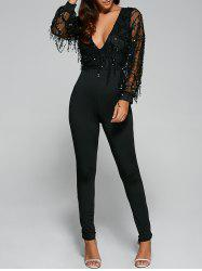 Mesh Sequined Fringed Jumpsuit -