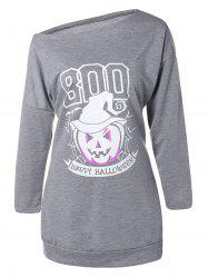 Plus Size Skew Neck Pumpkin Print Sweatshirt - GRAY