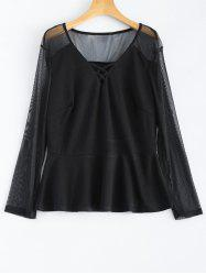 Plus Size Mesh Criss Cross Blouse -
