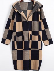 Hidden Buttoned Checkered Hooded Coat -