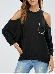 Cold Shoulder Pocket Design Sweatshirt