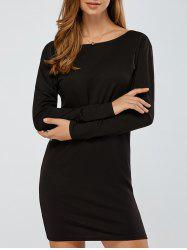 Long Sleeves Backless Knitted Dress - BLACK XL