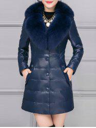 PU Leather Detached Fur Quilted Coat -