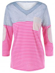 V Neck Pocket Striped Patchwork T Shirt