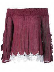 Lace Pleated Bell Sleeve Blouse -