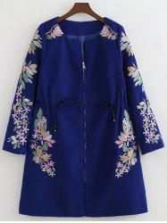 Floral Embroidery Drawstring Coat -