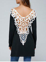 Cutwork Side Slit Backless T-shirt - Noir