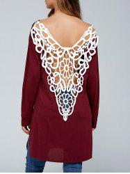 Cutwork Side Slit Backless T-Shirt