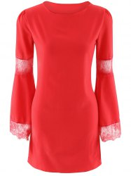 Lace Patchwork Bell Sleeves Dress -