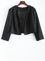 Plus Size 3/4 Sleeves Open Front Short Jacket - BLACK