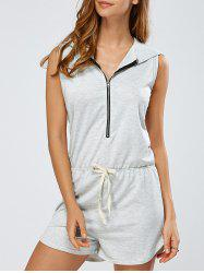 Zip-Up Tied Bowknot Hooded Romper