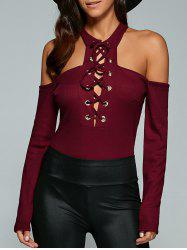 Cold Shoulder Long Sleeve Lace Up Bodysuit