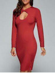Long Sleeve Twisted Hollow Out MIni Bodycon Dress - RED M