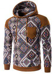 Tribal Print Hooded Raglan Sleeve Brown Hoodie - COFFEE